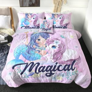4 Pieces Magical Unicorn And Mermaid Comforter Set