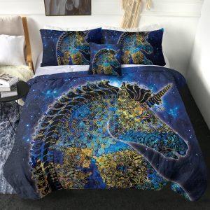 4 Pieces Mandala Unicorn Themed Comforter Set