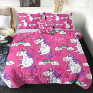4 Pieces Pink Funny Unicorn Comforter Set
