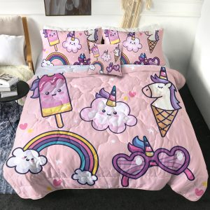 4 Pieces Pink Funny Unicorn Comforter Set (Copy)