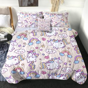 4 Pieces Rainy Heart Unicorn Themed Comforter Set (Copy)
