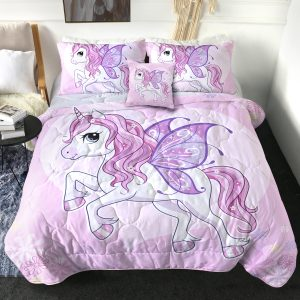 4 Pieces Rose Unicorn Comforter Set (Copy)