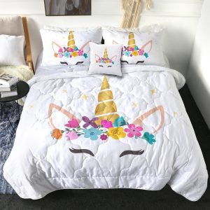 4 Pieces Unicorn Face Comforter Set