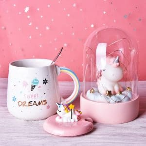 Cute Unicorn Coffee Mug with Lid and Spoon