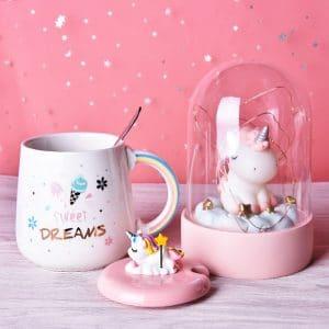 Cute Unicorn Coffee Mug with Lid and Spoon