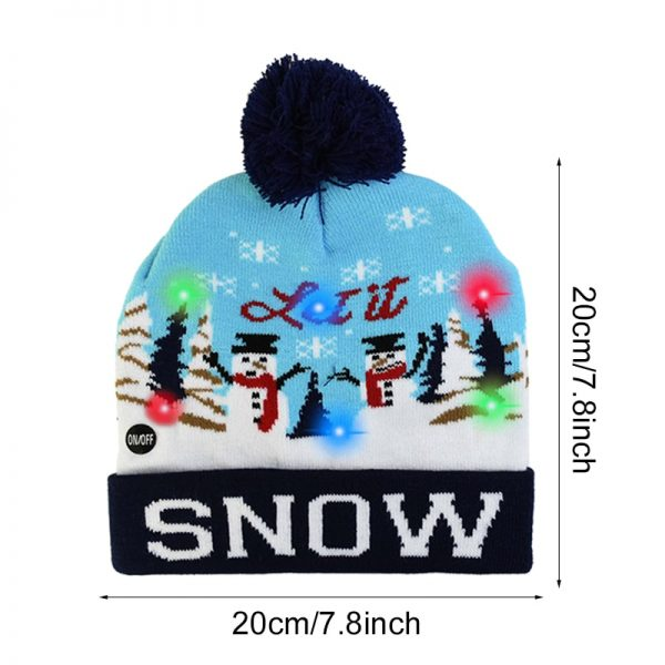 LED Glowing Christmas Knitted Beanie Hat