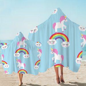 Blue Baby Rainbow Unicorn Hooded Towel