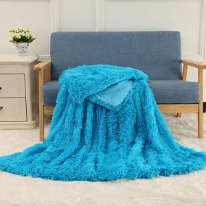 Blue Fleece Long Shaggy Decorative Throw Blanket for Bed Sofa Couch Soft Bed Cover Sherpa Fuzzy Blankets and Plush Throws for Kids Adults Teens Girls Women