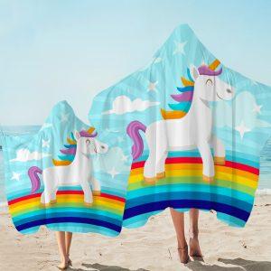 Blue Sky Rainbow Unicorn Hooded Towel