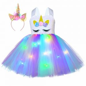 Christmas Unicorn Glowing Dress With LED Lights