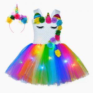 Christmas Unicorn Glowing Dress With LED Lights