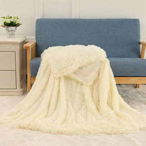 Cream White Fleece Long Shaggy Decorative Throw Blanket for Bed Sofa Couch Soft Bed Cover Sherpa Fuzzy Blankets and Plush Throws for Kids Adults Teens Girls Women
