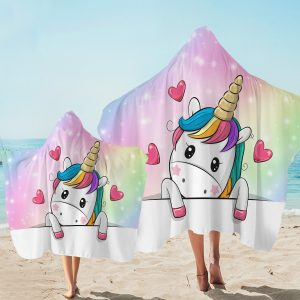 Cute Kid Unicorn Themed Hooded Towel