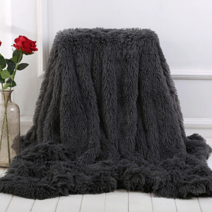 Dark Grey Fleece Long Shaggy Decorative Throw Blanket for Bed Sofa Couch Soft Bed Cover Sherpa Fuzzy Blankets and Plush Throws for Kids Adults Teens Girls Women