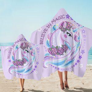 Purple Magic Unicorn Hooded Towel