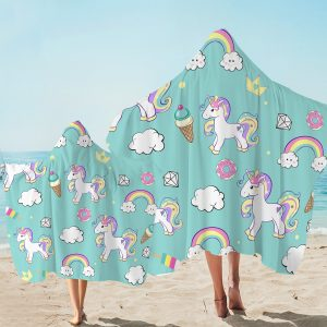 Rainbow Unicorn Green Pattern Hooded Towel