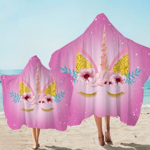 Pink Cute Unicorn Face Hooded Towel