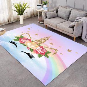 Rainbow Unicorn Eyelashes Themed Large Rug