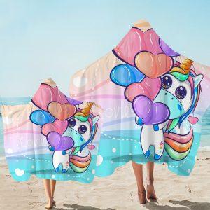 Heart Balloon Unicorn Hooded Towel