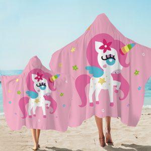 Kid Cartoon Pink Unicorn Hooded Towel