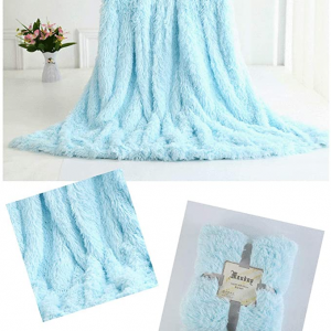 Light Blue Fleece Long Shaggy Decorative Throw Blanket for Bed Sofa Couch Soft Bed Cover Sherpa Fuzzy Blankets and Plush Throws for Kids Adults Teens Girls Women