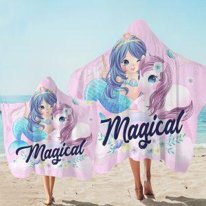 Magical Unicorn & Mermaid Hooded Towel