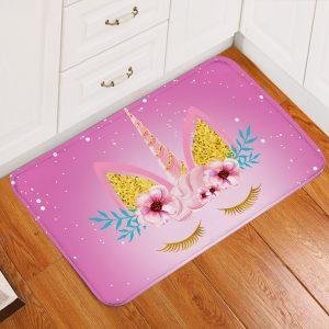 Pink Cute Unicorn Emoji Floor Mat