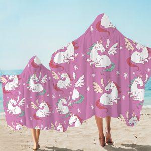 Pink Flying Unicorn Hooded Towel