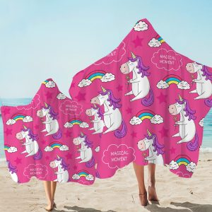 Pink Funny Unicorn Hooded Towel (Copy)