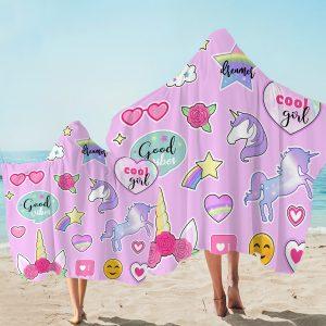 Pink Unicorn Icons Hooded Towel