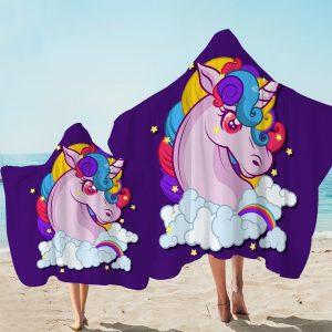 Purple Cloudy Unicorn Hooded Towel