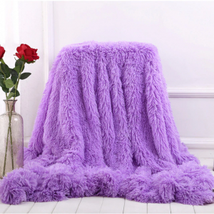 Purple Fleece Long Shaggy Decorative Throw Blanket for Bed Sofa Couch Soft Bed Cover Sherpa Fuzzy Blankets and Plush Throws for Kids Adults Teens Girls Women