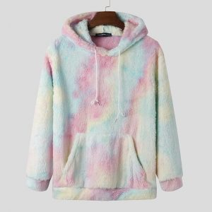 Unicorn Tie-Dye Warm Fleece Hooded Pullovers